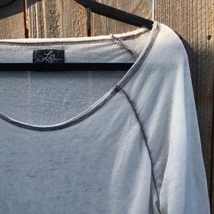 • [L4A] white/grey burnout pullover •